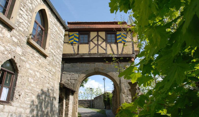 Man sieht einen Eingang zur Burg als Fachwerk über einem Rundbogen. Vorne rechts hellgrünes Weinlaub. Die Burg Krautheim steht imn der Stadt Krautheim im nördlichen Baden-Württemberg.