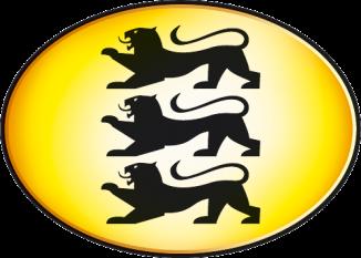 Drei schwarze Löwen überenander in einem waagrechten Oval von außen Gelb fließend nach innen Weiß: das emblem Baden-Württemberg. Auf der Seite Spedition sucht LKW-Fahrer in Hohenlohe.