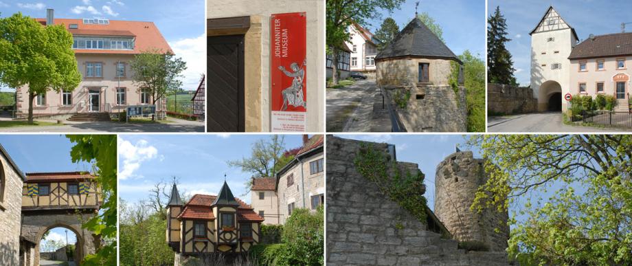 Krautheim in Hohenlohe. Es sind 7 Bilder zu einer rechteckigen Collage zusammengesetzt: Alles schöne Motive in Krautheim: Burg und Rathaus. Einen LKW-Fahrer sieht man allerdings nicht.